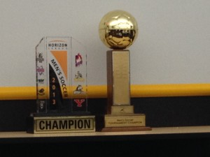 The Horizon League Tournament Trophy and Horizon League Championship Trophy Photo from Joe Horning