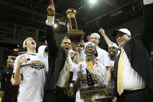 Coach Rob Jeter celebrating with the Horizon League Championship.