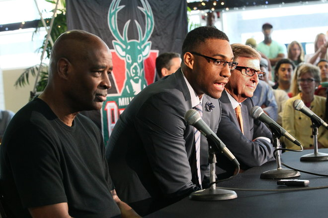 Jabari Parker being introduced to Milwaukee along with GM John Hammond and former coach Larry Drew
