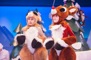 Credit: Paul Ruffolo, Young performers Abby Hanna (as Clarice) and Luke Brotherhood (as Rudolph) in Rudolph the Red-Nosed Reindeer: The Musical.