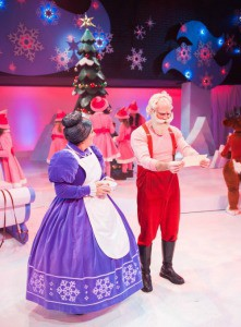 Credit: Paul Ruffolo, Adult actors Karen Estrada (as Mrs. Claus) and Todd Denning (as Santa Claus) in Rudolph the Red-Nosed Reindeer: The Musical.