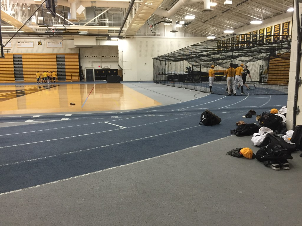 Early season weather usually means practicing in the Klotsche center