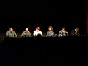 Left to right, Loren Bouchard, H. Jon Benjamin, John Roberts, Kristen Schaal, Dan Mintz, Eugene Mirman. Table reading an unreleased episode of Bob's Burgers.