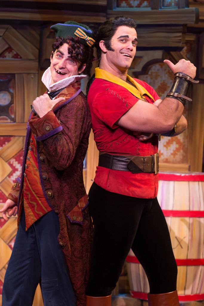 Cameron Bond asGaston andJakeBridgesas Lefouin Disney'sBeauty andtheBeast.Photo by MatthewMurphy