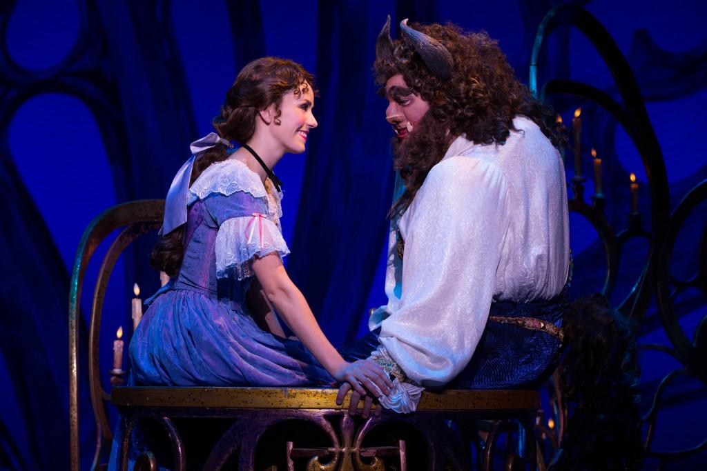 Jillian Butterfield as Belle and Ryan Everett Wood as Beast in Disney's Beauty and the Beast. Photo by Matthew Murphy