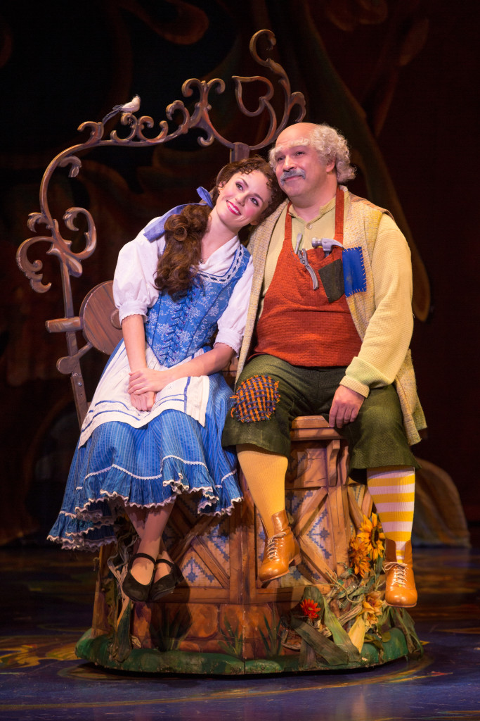 Jillian Butterfield as Belle and Thomas Mothershed as Maurice in Disney's Beauty and the Beast. Photo by Matthew Murphy.
