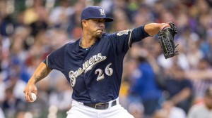 Lohse's final stat line was  6.1 IP, 4 ER, 8 H, 0 BB, 5 K Photo: Milwaukee Brewers