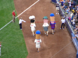 The Sausage Race has been a Brewers' Tradition since County Stadium photo: wikipedia.org