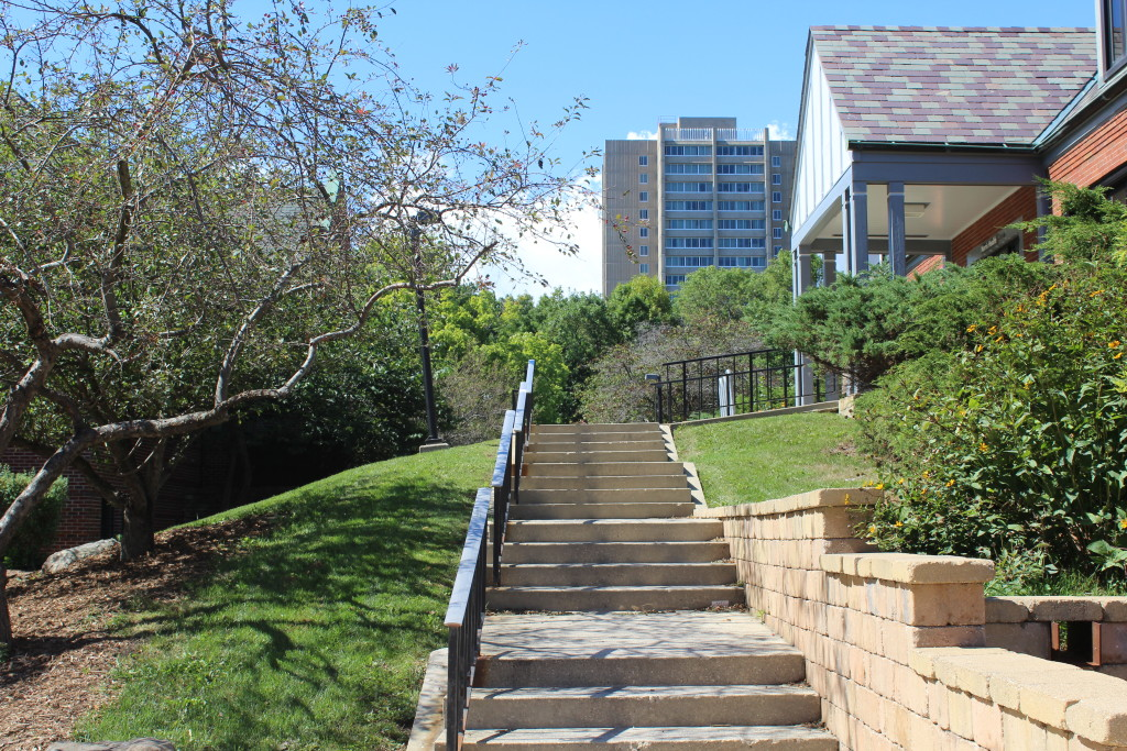Steps Near Norris Health Center, Sandburg Hall in the Background