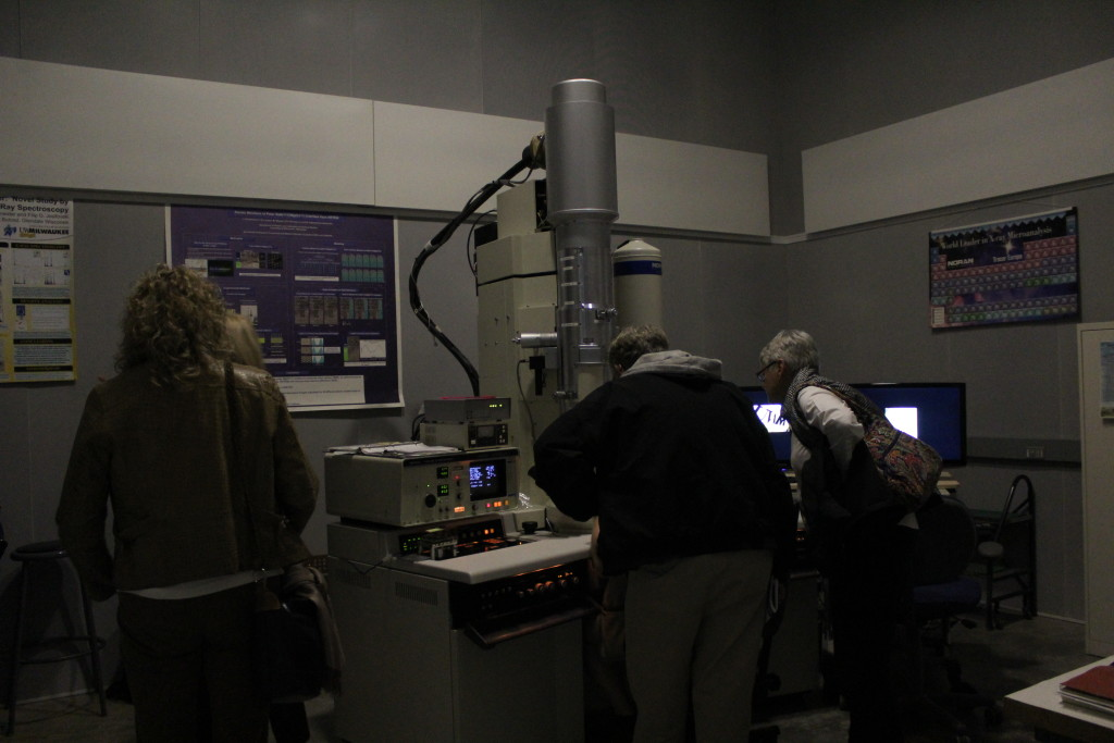 The basement is home to High Resolution Transmission Electron Microscopy. This electron microscope can view matter at the atomic level.