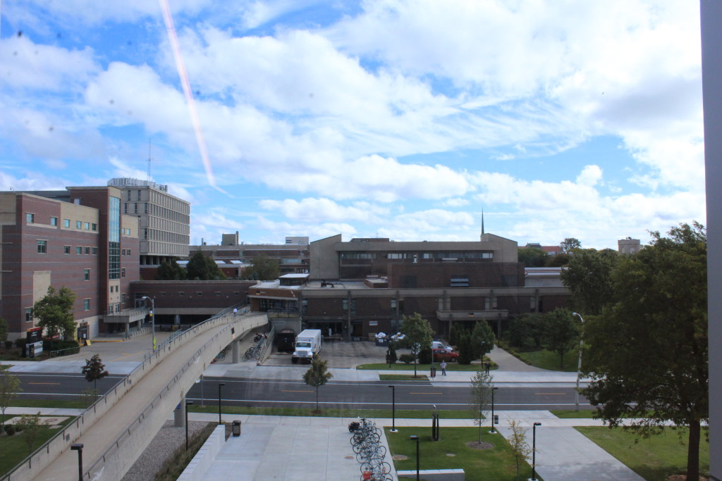 Students and faculty get a clear view of the UWM Union from the east side windows.
