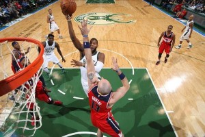 Greg Monroe was a bright spot in a losing effort for the Bucks. photo: bucks.com