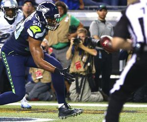 The Seahawks won thanks in large part to this controversial play by K.J. Wright. photo: Seattle Times