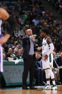 Bucks' Coach Jason Kidd was ejected in the game for slapping ball out of referee's hands.  image from bucks.com