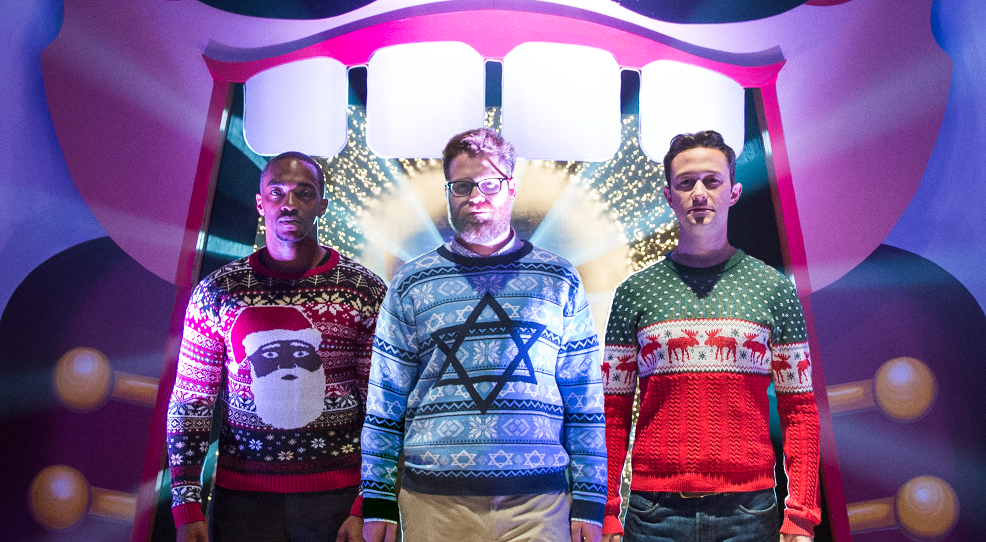 "Mackie, Rogen, and Gordon-Levitt in ""The Night Before"""