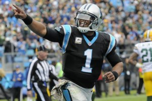 Panthers' quarterback Cam Newton had a lot to celebrate on Sunday afternoon, delivering an MVP-like performance. photo: bleacherreport.com