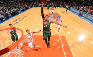 Giannis Antetokounmpo will face the Knicks for the first time this season after being suspended for the home opener vs. New York. photo: bucks.com