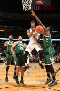 The Bucks will need to contain Emmanuel Mudiay, as in their last matchup the rookie finished with a double double. (Doug Pensinger, Getty Images)