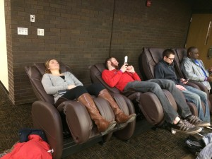 Students enjoy massage chairs.