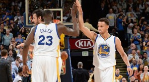Stephen Curry and Draymond Green were instrumental in last night's double OT victory in Boston and will look for the same result tonight in Milwaukee.  photo: Noah Graham, NBA.com