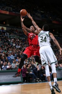 DeMar DeRozan once again proved to be the Bucks' kryptonite, putting up 22 points on 7-of-14 shooting. photo: NBA.com