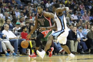 Khris Middleton will be viewed as a catalyst for the Bucks' offense tonight against Tony Allen and the Grizzlies (Image from USA Today).