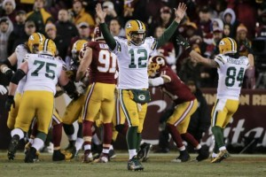 Aaron Rodgers and the Packers sure had a lot to celebrate after the decisive Wild Card victory over the Redskins.  photo: bleacherreport.com
