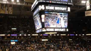 The Bucks played a special video to thank Kobe Bryant on his career during introductions. (Image from news8000.com)