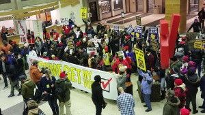 Protesters in the Union. | Photo by John Gittings.