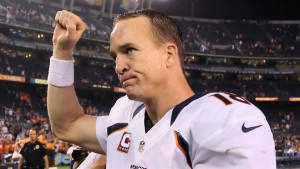 "Peyton Manning, aka ""The Sherriff"", will look to take home the Lombardi Trophy in what could be his last NFL game.  photo: biography.com"