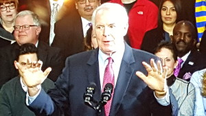 Mayor Barrett gives his preliminary speech at the UCC on Thursday.