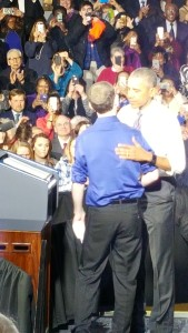 President Obama embraces Brent Brown following his moving opening address.
