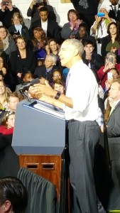 Obama addresses the crowd at the UCC on Thursday, March 3.