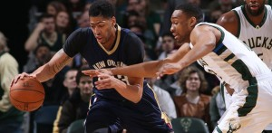 Pelicans' Anthony Davis scored 29 points, but wasn't enough to beat the Bucks Saturday night. (Image from twitter.com/pelicansnba)