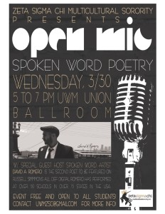 "California spoken word artist David A. Romero will be the guest performer at ""Open Mic Night."""