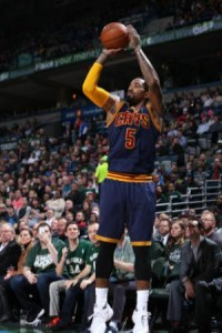 J.R. Smith makes one of this seven three's against Bucks Tuesday night (Image from yahoo.com)