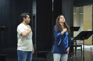 Director Solana Ramírez-García gives some direction to Angelo Rome Villarreal