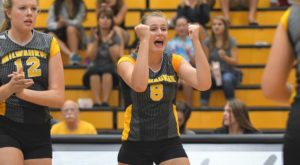 Jenn Dore celebrates a point for the Panthers (UWM Athletics).