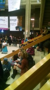Audience members lined the Union Concourse to watch the event.