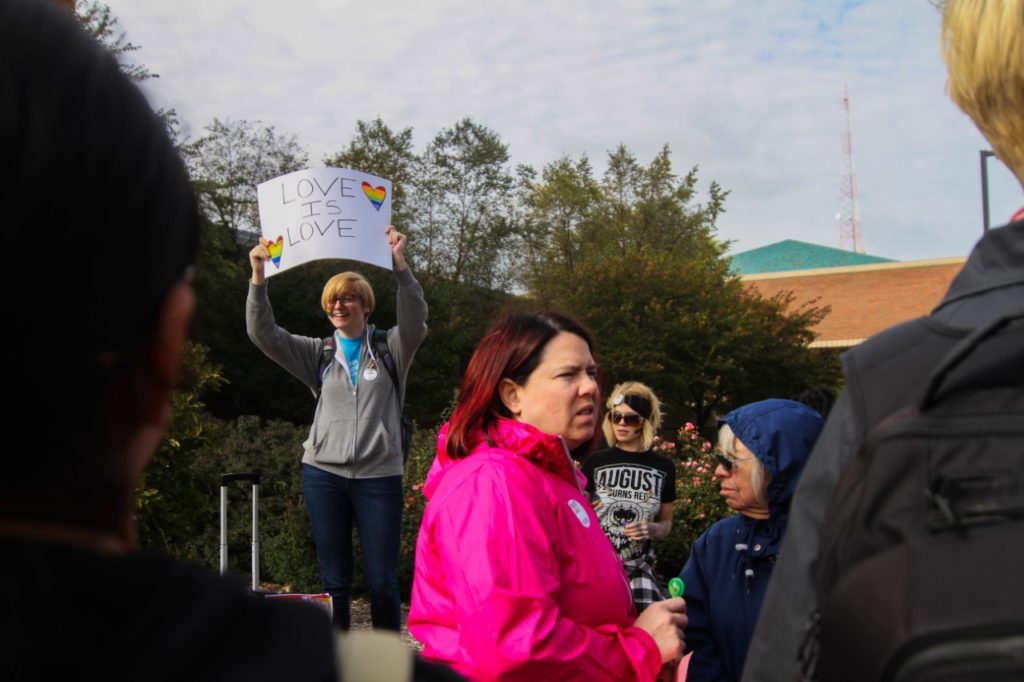 Students and community members formed a counter-protest, with hundreds of people in attendance