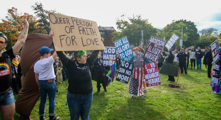 Westboro Baptist Church is met with a counter-protest on campus