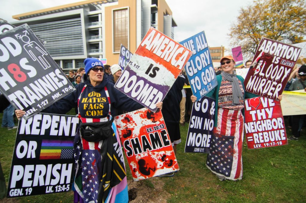 Two women from the Westboro Baptist Church