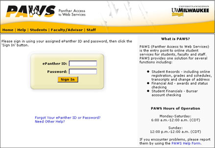 paws login u of s